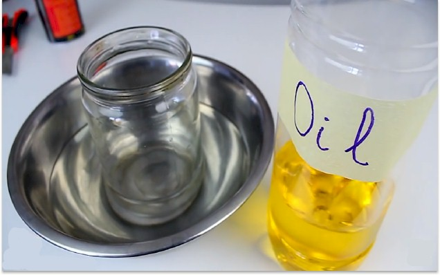How to cut glass bottles jars using oil for How to cut yourself with glass